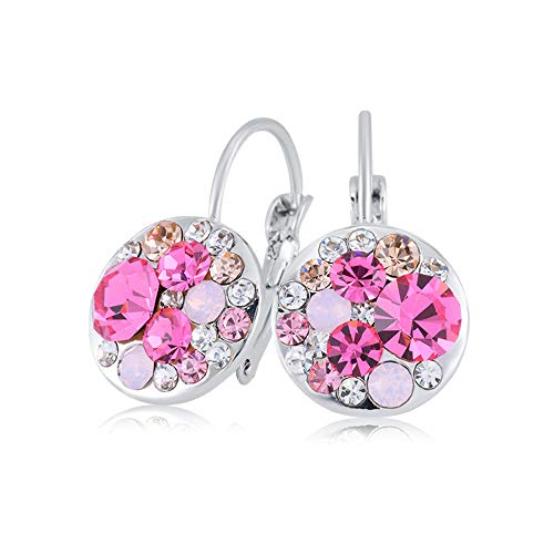 UPSERA Colorful Dangle Leverback Earrings for Women Made with Swarovski Crystals 18k Rose Gold or Silver Tone Plated Fashion Drop Jewelry Gift for Her Pink ()