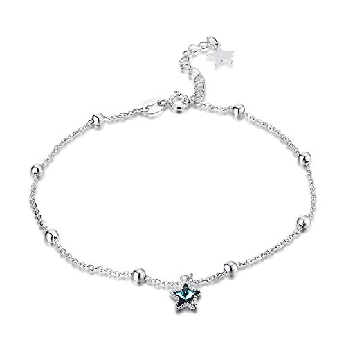 (Kalapure Elegant S925 Sterling Silver Tiny Cute Star Charm Blue Swarovski Crystal Anklets Bracelet for Women Boho Barefoot Beach Foot Jewelry)