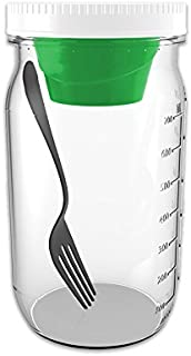 product image for Salad Jar With Fork and Dressing Cup (2 pack) (Green Cup)
