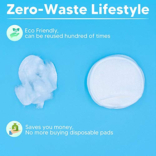 Reusable Makeup Remover Pads - 16 Organic Reusable Bamboo Cotton Rounds by Honeydew Hippo - Zero Waste Makeup Eraser and Washable Cotton Rounds with Laundry Bag - Eco Friendly Cleansing and Toner