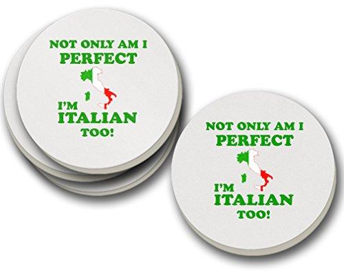 I'M Italian Too Sandstone Coasters Round Set of 4 ()