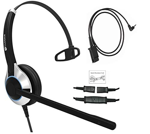 (Deluxe Single Ear Headset with Noise Canceling Microphone and Adapter Cable for iPhone, Samsung, HTC, LG, BlackBerry, ZTE, Huawei Mobile Phone and All Smartphones with 3.5 mm Jack)
