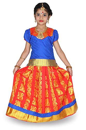 kaatru Thana Silk Girls Pavadai Set D8 - Lehenga Choli (Blue & Yellow) (Gold Blue, 7-8 Y)