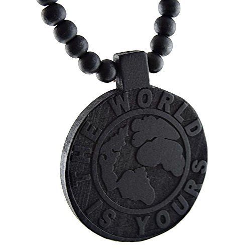 [The World Is Yours Wooden Globe Earth Black Hip Hop Necklace 40 In Chunky Wood Ball Chain] (Chunky Wooden Beads)
