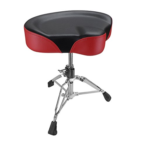 Shaw SHS11 Pro Drum Throne Saddle with Red Vinyl - - Drum Pro Throne