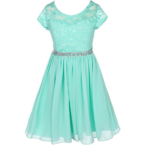 CrunchyCucumber Big Girls Cap Sleeve Floral Lace Illusion Bodice Chiffon Skirt Mint - Size 14