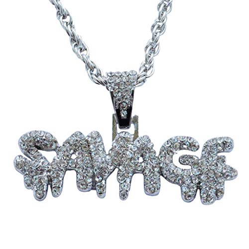 FEDULK Individuality Necklace Full Rhinestone Hip Hop Bling Stones Savage Letter Pendant Retro Jewelry(Silver)