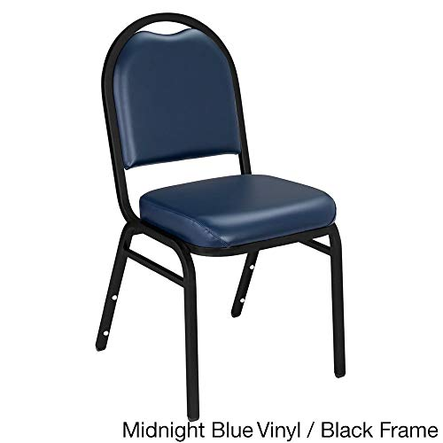 - National Public Seating Dome-Back Padded Stack Vinyl Chairs (Case of 40) Midnight Blue/Black