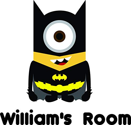Personalized Names Custom Batman Minion Minions Character Cartoon Animation TV Show Movie Movies Shows Hero Vinyl Wall Decals Decal Stickers for Kids Bedroom Kid Rooms Children Decor Size 20x12 -