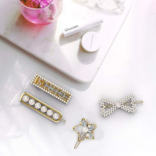2019 Hottest Pearl Hair Clips for Girls Women - 4pcs Bling hair Barrettes Pins, Great for Daily Life, Dance Party, Wedding, Evening Party, and Birthday Valentines Day Gifts