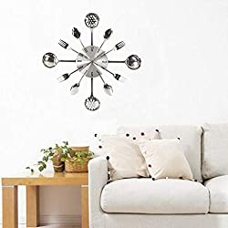 Wall Clock - 3d Removable Modern Cutlery Spoon K Mirror Decal - Diy That Automatic Beach In Quilt Only Lacrosse Silent Dog