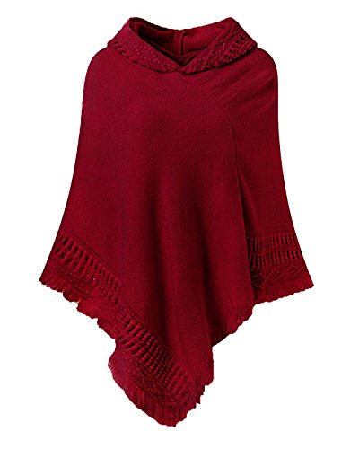 SUNNYME Women Solid Color Poncho Hooded Fringes Crochet Shawl Capes Cover Up Cardigan Wine Red One Size ()