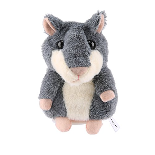 APUPPY Mimicry Pet Talking Hamster Repeats What You Say Plush Animal Toy Electronic Hamster Mouse for Boy and Girl Gift,3 x 5.7 inches( Gray ) New Pet Hamster