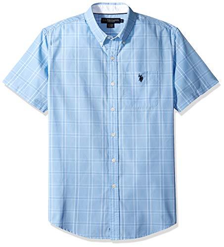 - U.S. Polo Assn. Men's Short Sleeve Plaid Woven Shirt, Simple Tahoe Blue, M