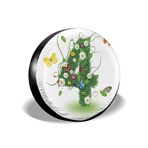 GULTMEE Tire Cover Tire Cover Wheel Covers,Botanical Four with Butterflies Daisy Flowers Spring Organic Nature Year Celebration,for SUV Truck Camper Travel Trailer Accessories(14,15,16,17 Inch) 17]()