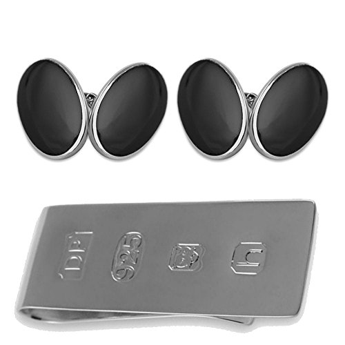 oval sided James Bond Money onyx large Sterling Box Set cufflinks double silver Clip XHFq1wf