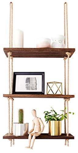 Three-tier wooden shelf suspended by jute rope used for displaying trinkets.