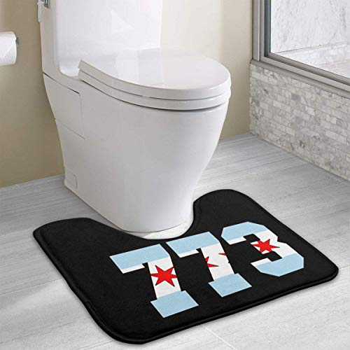 colory Chicago Flag 773 Toilet Carpet Anti-Slip Contour Bath Rug Carpet Mat for Toilet 19.2″x15.7″