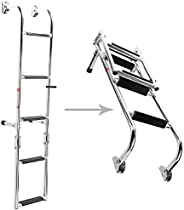 NovelBee Foldable Stainless Steel 3/4 / 5/6 Steps Ladder Stern Mount w Rubber Grips for Marine Boat Yacht