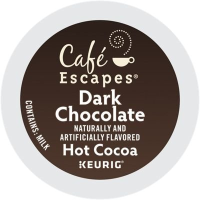 Traditional Hot Chocolate - Cafe Escapes Hot Cocoa Keurig K-Cups, Dark Chocolate, 96 Count