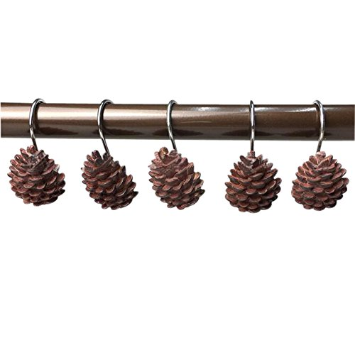 Grace life Gracelife Set of 12 Pinecone Shower Curtain Hooks Bathroom Rolling Hangers Curtain Sliding Hooks Resin Pothook