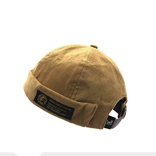 Clape Retro Strap-Back Cap Watch Cap Commando Work Beanie Corduroy Docker Leon Brimless Hat Rolled Cuff Harbour Hat (Leather Harbour)