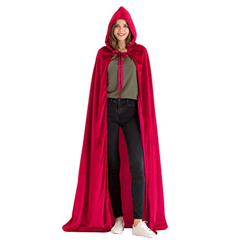 Hsctek Red Hooded Cape Women,Halloween Dracula Red