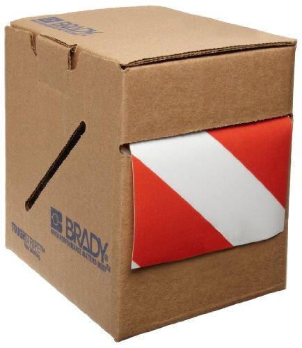 Tape Aisle Marking Red (Brady ToughStripe Nonabrasive Diagonal Stripes Floor Marking Tape, 100' Length, 4