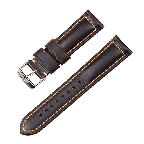 EACHE Oil 20mm Leather Watch Band,Vintage Watch Straps for Men Women,Dark Brown-Silver Buckle