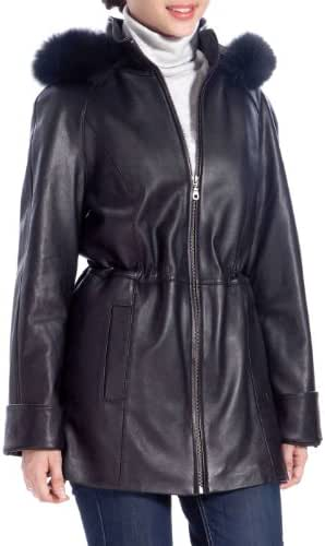 BGSD Women's Lambskin Leather Hooded Parka Coat (Regular and Plus Size and Short)