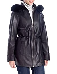 Women's Lambskin Leather Hooded Parka Coat (Regular and Plus Size and Short)