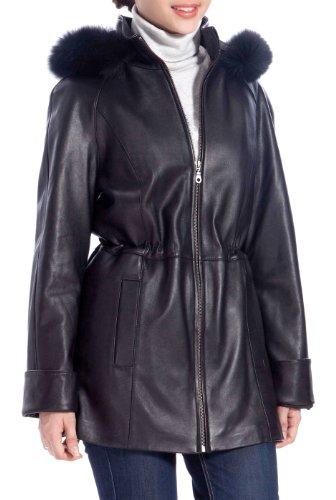 BGSD Women's New Zealand Lambskin Leather Hooded Parka Coat - S Black