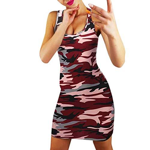 ca328bc50b2e kemilove Women's Floral or Camouflage Printed Sexy Body-Con Racer-Back Mini  Dress
