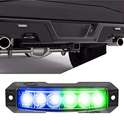 SpeedTech Lights Z-180 TIR 18W LED Strobe Light for Police Cars, Construction Trucks, Service Vehicles, Plows, Emergency Vehicles. Surface Mount Grille Flashing Hazard Beacon Light - Blue/Green: Automotive