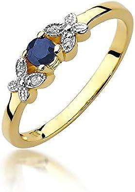 Anillo para mujer de oro amarillo 585 de 14 quilates, zafiro auténtico, piedras preciosas y brillantes