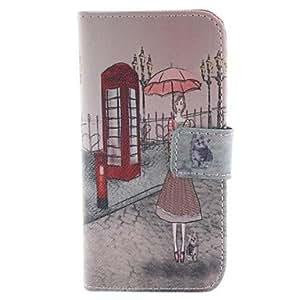 HC- un paraguas de una mujer y el gato diseño de la caja de cuero de la PU con ranura para tarjeta y presentarse a 5c iphone