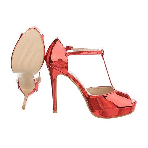 Sandalen Sandaletten Heel Heels amp; Reißverschluss Design Pfennig Damenschuhe Rot Stilettoabsatz Ital High C29P xAStT