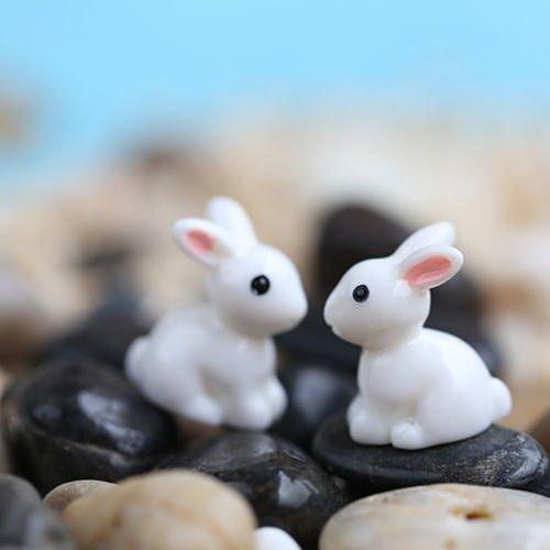 """""""No.29 5Pcs White Rabbit"""" Lots Garden Craft Plant Pots Fairy Ornament Miniature Figurine Dollhouse Decor Set61"""