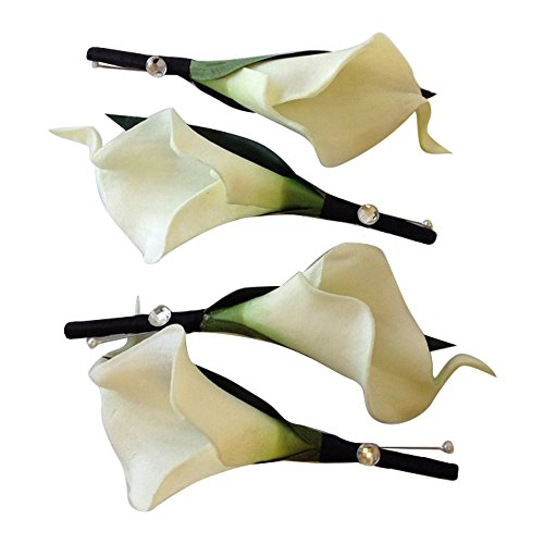 4 Real Touch Ivory keepsake boutonniere
