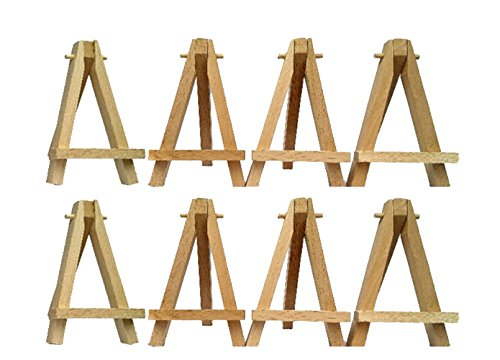 HENG SONG Mini Wood Art Easel Boards Carft Artwork Display Table Settings Set (pack of 10)