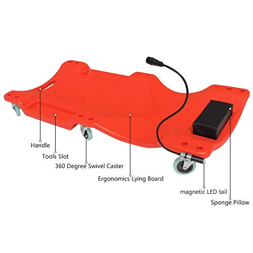 GOGOLO Mechanic Plastic 40'' Car Creeper Board with Led Light, Car Workshop Crawler Board Ergonomic Body & Padded Headrest & Dual Tool Trays, 200kg Capacity, Red by GOGOLO (Image #1)