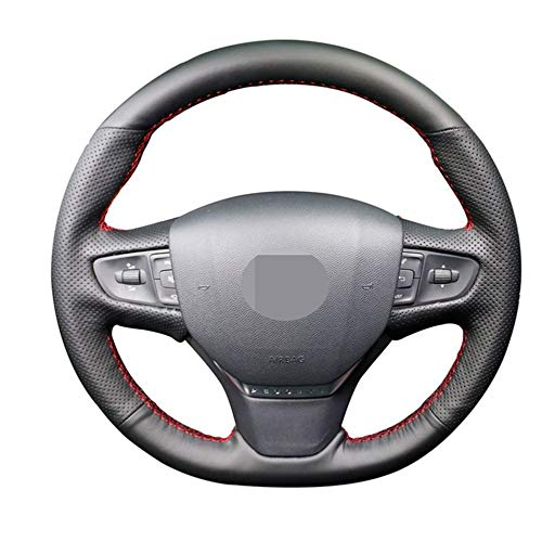 MIOAHD Hand-Sewing Leather Car Steering Wheel Covers Wrap,Fit for Peugeot 206 2007-2009 Peugeot 207 Citroen C2