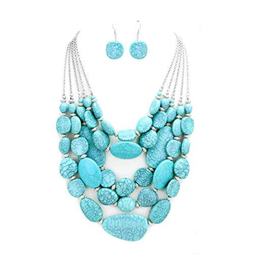 S.Uniklook Collection Statement Layered Strands Turquoise Stone-simulated Chunky Beads Necklace Earrings Set Gift Bijoux ...