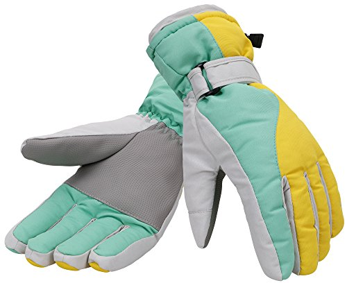 Women 3M Thinsulate Lined Waterproof Snowboard / Ski Gloves,M,Yellow Blue (Snowboarding Packages Women)