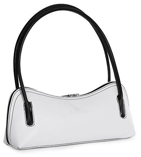 LIATALIA Genuine Italian Leather Small Satchel Clutch Evening Shoulder Bag - ARYA [White - Black Trim] ()