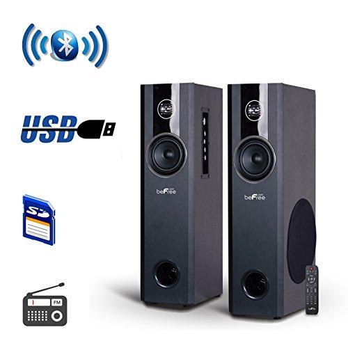 """beFree Sound 8"""" Powered 3-Way Floor Speakers (Pair) Black 91595512M"""