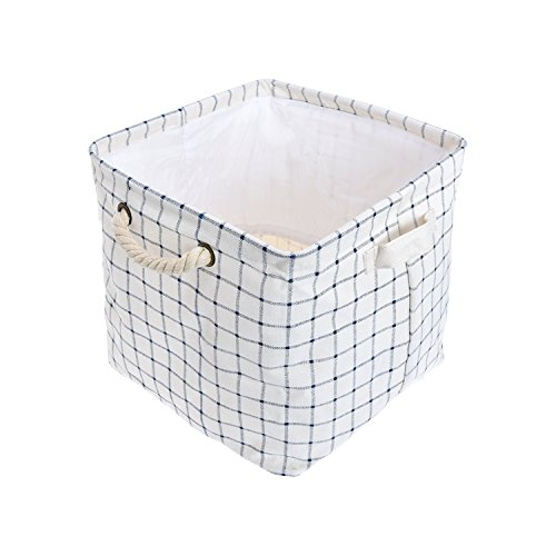 Expo Essential Collapsible Storage Baskets with Drawstring Closure Linen Bin Foldable Toy Organizer, Bathroom Storage with Rope and Fabric Handles (Drawstring Rope Closure)