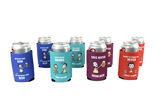 Personalized Party Beverage Cooler (Neoprene Collapsible Can Cooler By BasicTrek: Unique Beverage & Beer Personalized Holder For Birthday Parties, Outdoor Events - Decorative Soda Insulator With Color Imprints - Koozies In Pack Of 8)