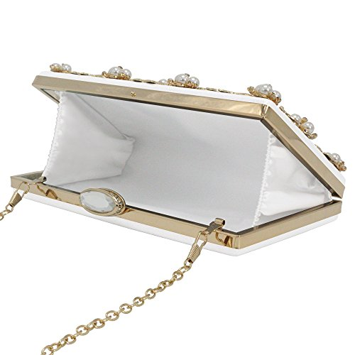Women's Wallets Beaded White Wocharm Handbag Party Purse Flower Small Clutches Wedding OdwwtUqnz