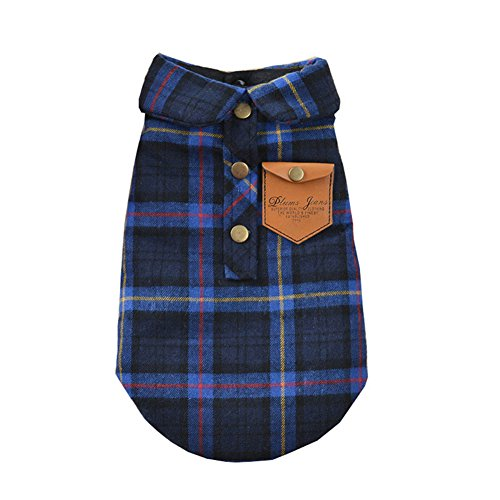 - BBEART Pet Clothes, England Plaid Double Layer Flannel T-Shirt Autumn Winter Warm Dog Clothes for Small or Medium Pet Dogs Clothing Chihuahua Yorkshire Poodle Apparel Costumes (L, Blue)